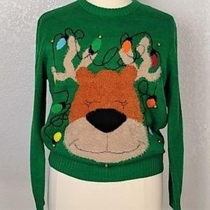 Ugly Jingle Bell Lights Christmas Sweater Sz M